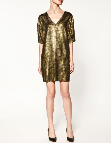 vestido fiesta dorado zara