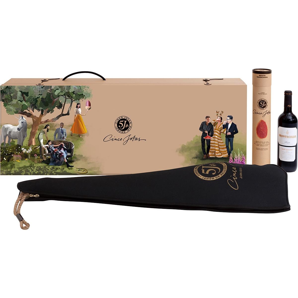 Cinco Jotas Estuche con jamón de bellota 100% ibérico pieza 6 kg +1/2 lomo de bellota 100% ibérico+vino tinto Montecillo Gran Reserva DOCa Rioja