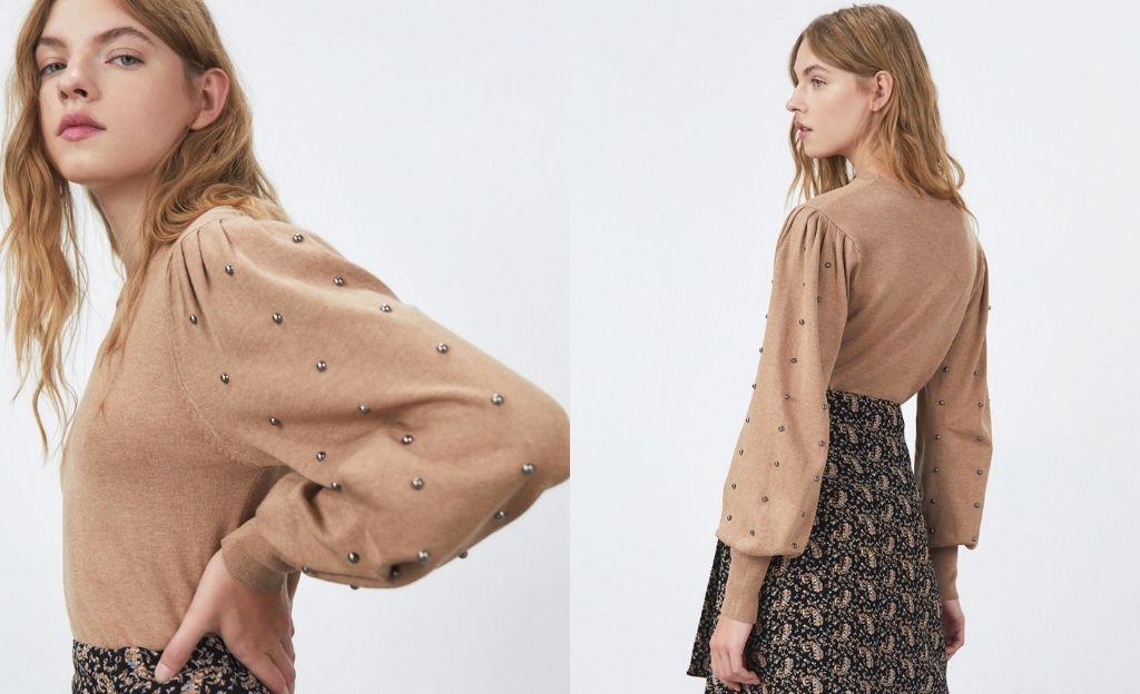 Jersey de mujer con tachas y cuello perkins