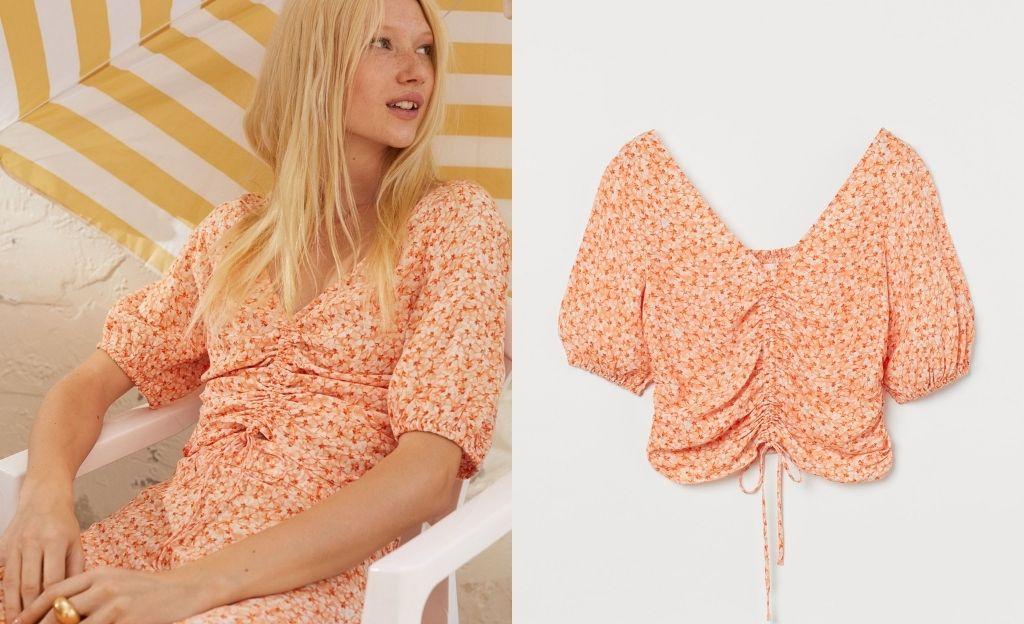 Blusa drapeada de floral print