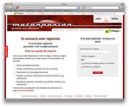 Registrarse en Motorpasión: ahora es más fácil y rápido