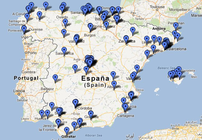 Mapa de gasolineras con GLP en España