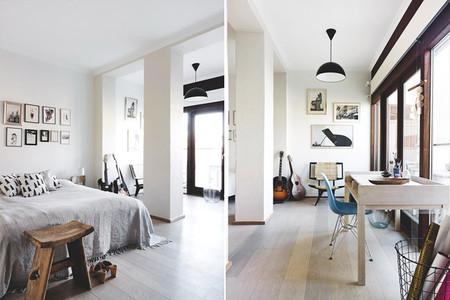 Dormitorio amplio de estilo nórdico