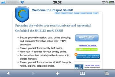 Configura Hotspot Shield en el iPhone e iPod Touch
