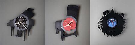 Discos de vinilo convertidos en relojes de pared