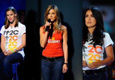 Jennifer Aniston, Eva Longoria, Halley Berry, en la Gala contra el cáncer
