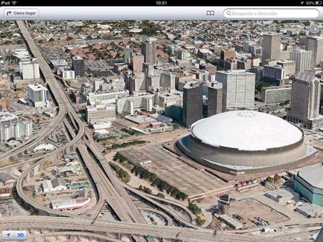Mapa 3D de Nueva Orleans en iOS 6 beta 4 (Flyover)
