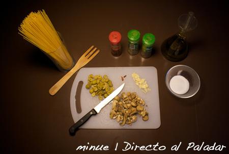 espaguetis picantes con champiñones- ingredientes