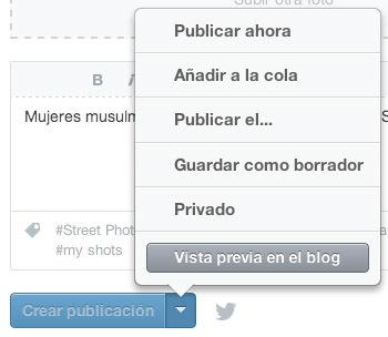 Opciones crear publicación en Tumblr
