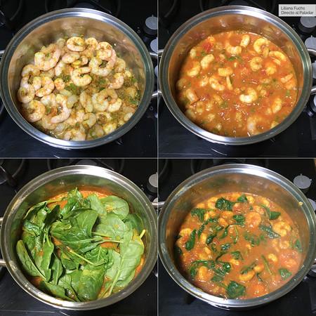 Curry de Gambas. Pasos