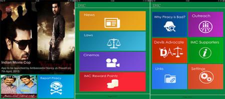 Indian Movie Cop, denunciando infracciones de copyright desde una aplicación móvil