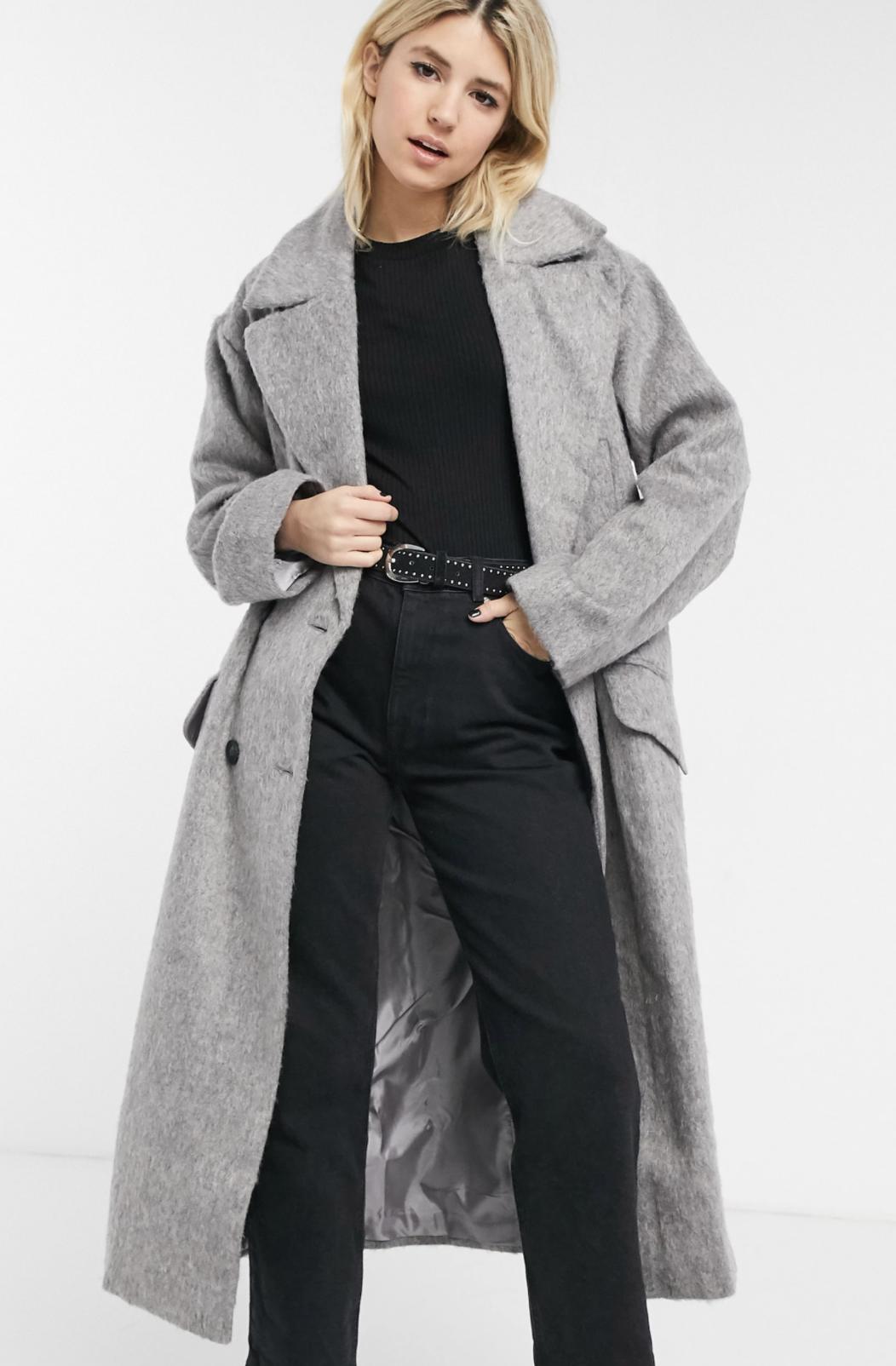Abrigo largo gris cepillado de ASOS DESIGN Luxe