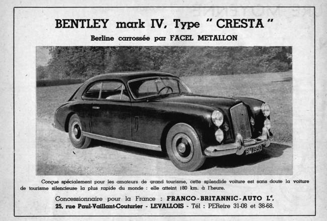 Bentley Mark VI Cresta FACEL Metallon
