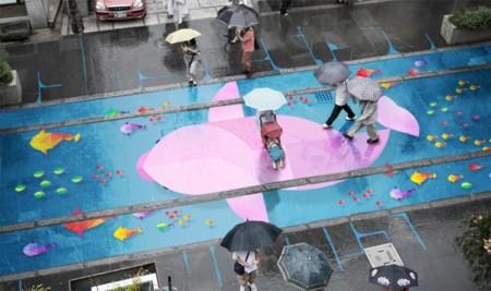 La lluvia en Corea adquiere un nuevo sentido gracias a estas pinturas ocultas
