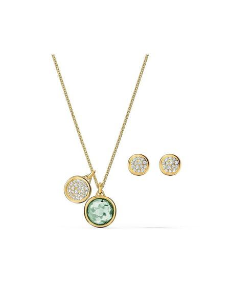 Set De Colgante Y Pendientes Swarovski Con Cristales Transparentes Y Verde