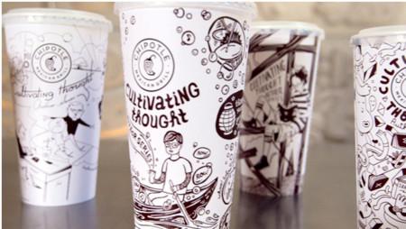 Chipotle Mexican Grill y su literatura en vasos y bolsas de papel