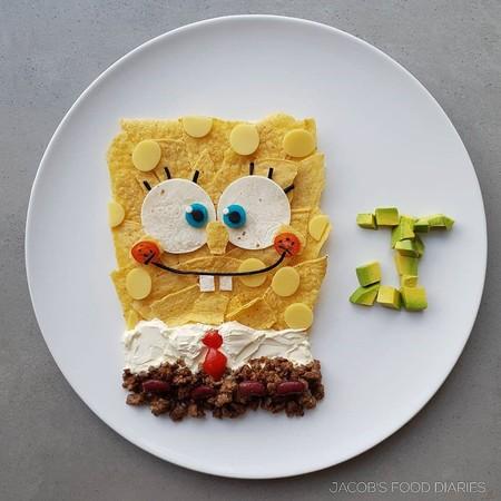 Madre Hace Obras De Arte Infantiles Con Comida Saludable Hijos Bob Esponja