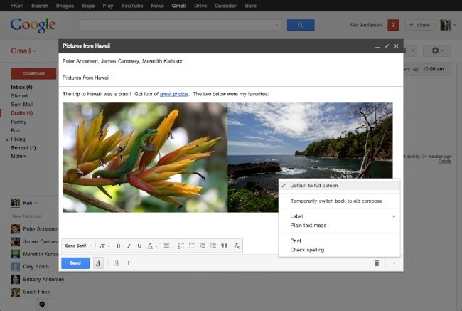 gmail google redactar mensaje pantalla completa interfaz