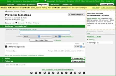 Nozbe, ahora en español y con calendario disponible