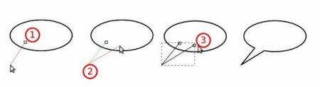 Proceso con la herramienta Bezier para crear el rabillo del globo