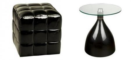 puff y mesa en color negro de fisura
