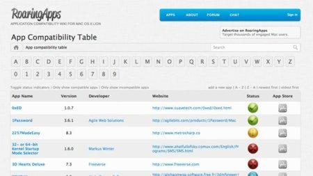OS X Lion: Listado de compatibilidad de aplicaciones