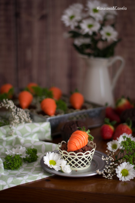 Muffins De Chocolate Con Fresa Para Pascua