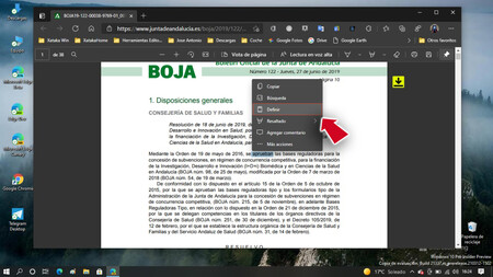 Microsoft lleva al nuevo Edge con motor Chromium el diccionario para documentos PDF: así puedes activarlo