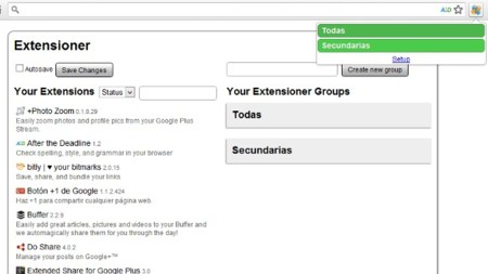 Deshabilita extensiones por grupos en Chrome con Extensioner