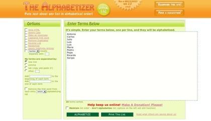 Alphabetizer, ordenando listas alfabéticamente