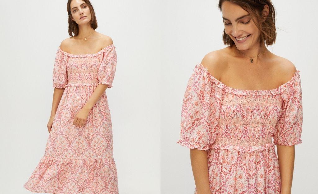 Vestido florado con detalles fruncidos