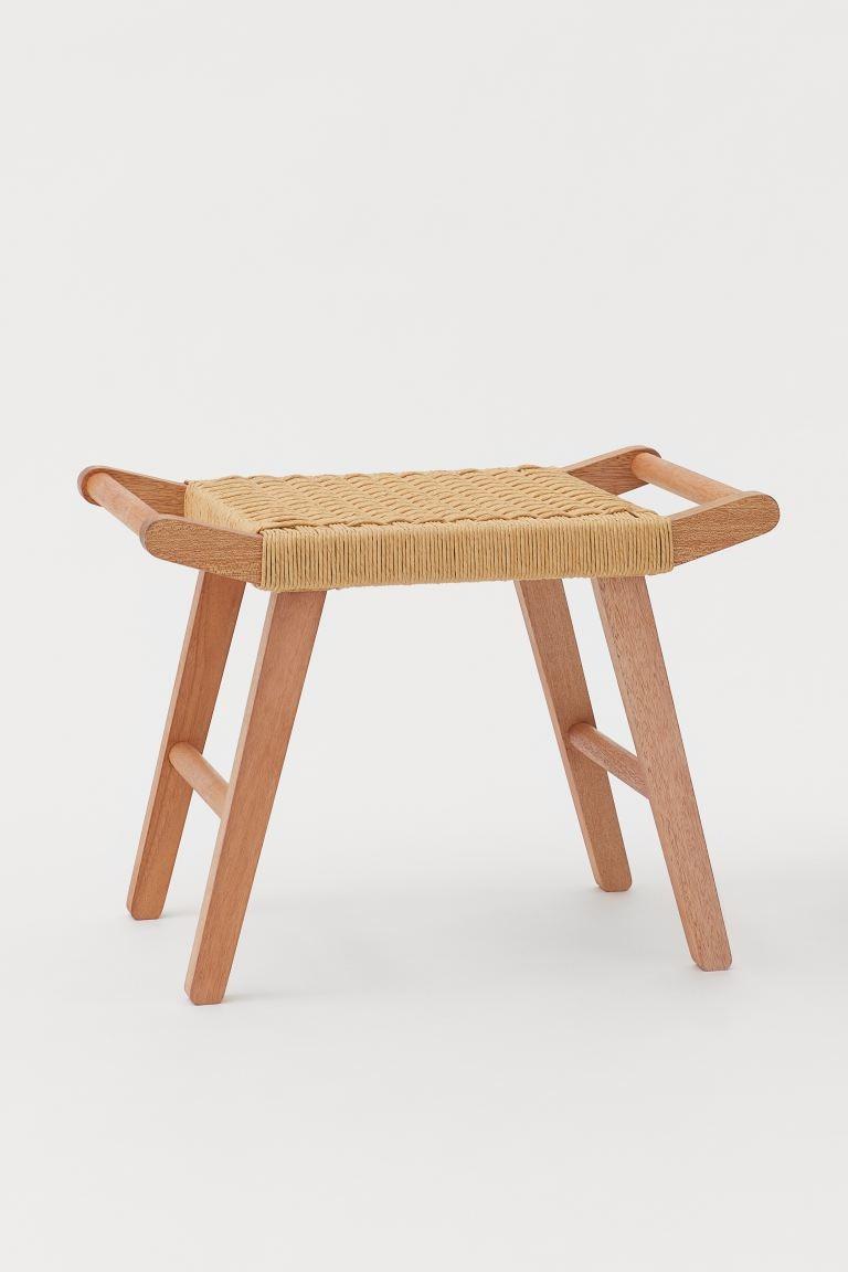 Taburete con asiento de paja