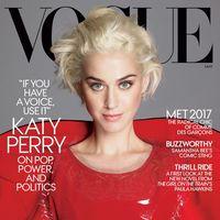 Katy Perry luce rubio platino en la portada de Vogue US
