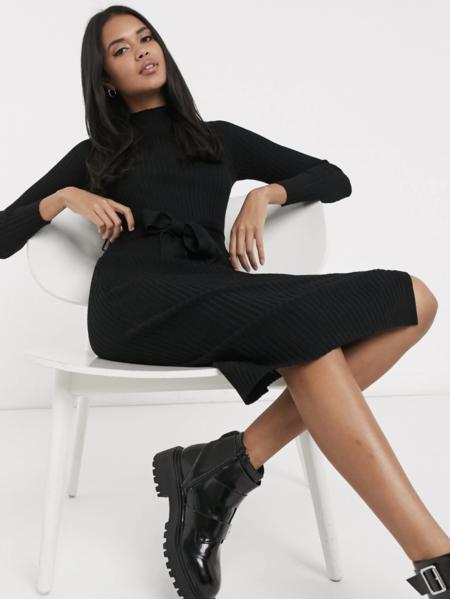 Vestido De Punto Con Cintura Anudada En Negro De New Look