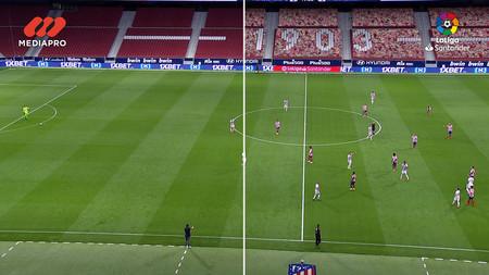 Comparativa del Atlético de Madrid vs Real Madrid, con las gradas vacías y con las gradas virtualizadas.