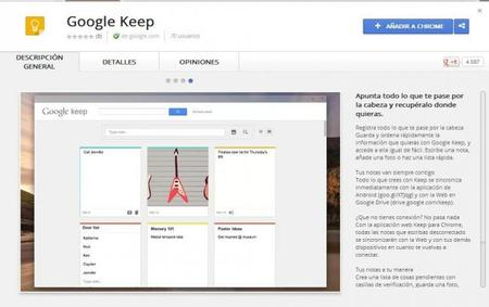 Google Keep disponible en la Chrome Web Store