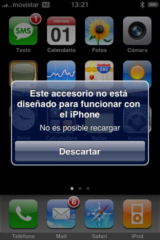Los cargadores de iPod con cable firewire no valen para el iPhone 3G