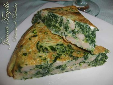 Tortilla de espinacas y judías blancas. Receta