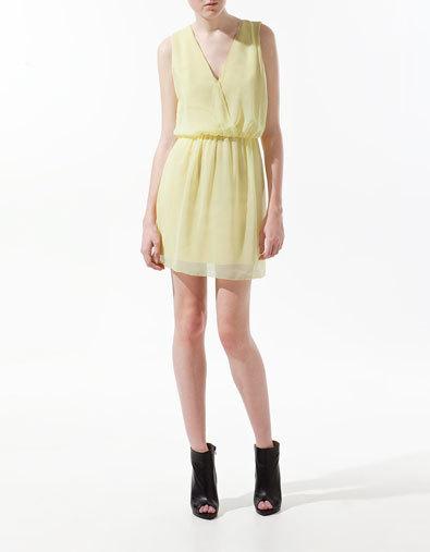 vestidos amarillo zara