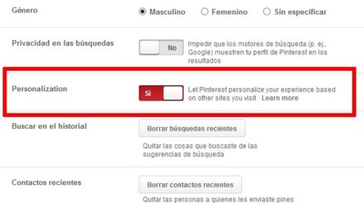 Pinterest nos dará sugerencias en base a nuestras visitas e incorpora Do Not Track