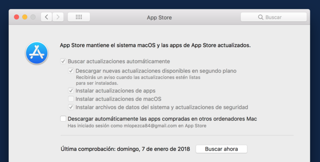 Preferencias App Store High Sierra Mac