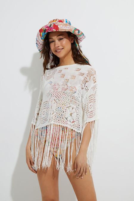 Jersey de crochet y flecos