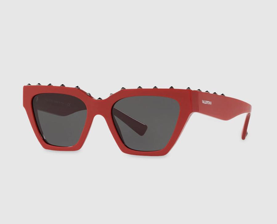 Gafas de sol de mujer Valentino de acetato en rojo con tachas