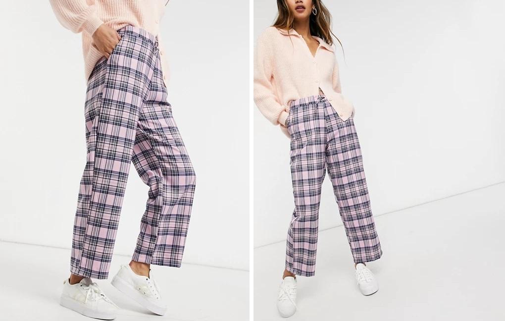 Pantalones holgados de cuadros rosas