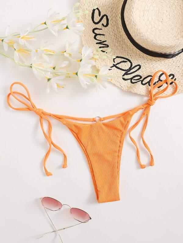 Braga bikini con cordón lateral de canalé
