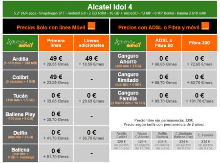 Precios Alcatel Idol 4 Con Tarifas Orange