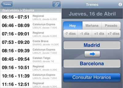 Trenes, aplicación para consultar los horarios de Renfe desde nuestro iPhone e iPod touch
