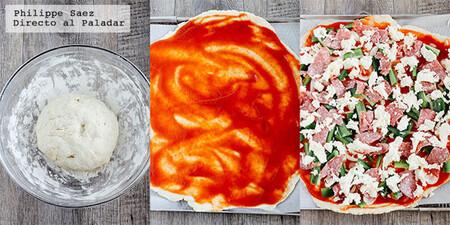 Pizza casera de salami y poblano. Receta fácil y deliciosa para disfrutar en casa