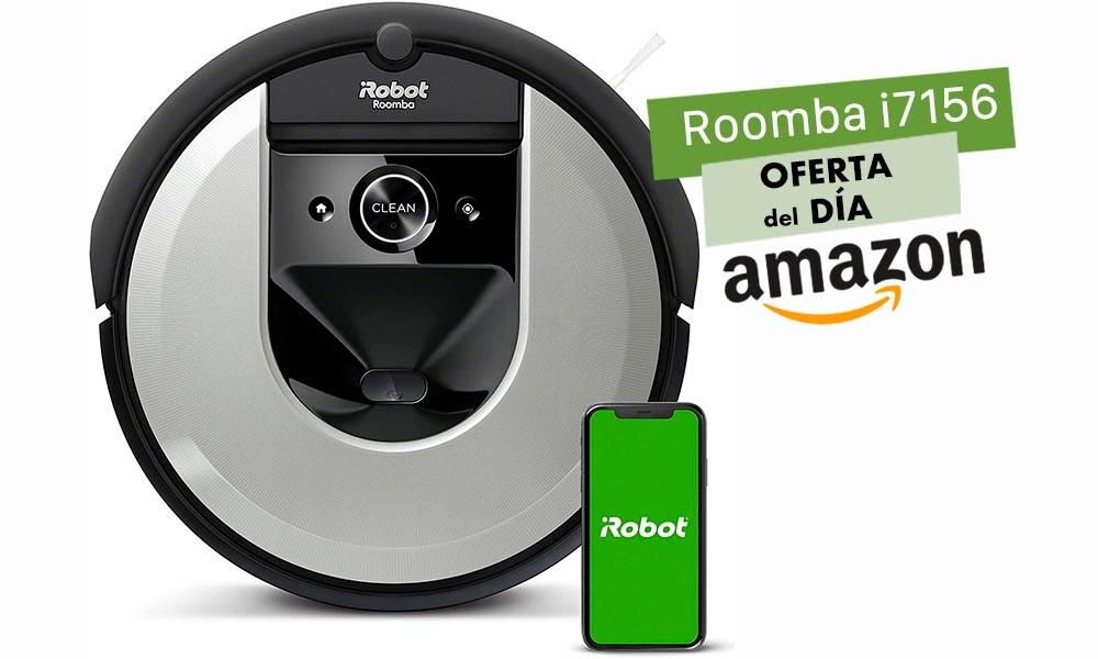 Hasta la medianoche, en Amazon, te puedes ahorrar 200 euros comprando un robot aspirador como el Roomba i7156 de iRobot