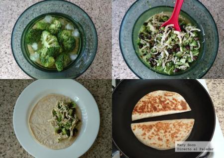 Quesadillas de brócoli y frijol
